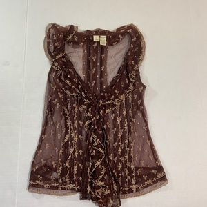 Anthropologie Lithe Sheer Brown Floral Top 4